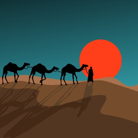 camels: Caravan against a rising sun Illustration