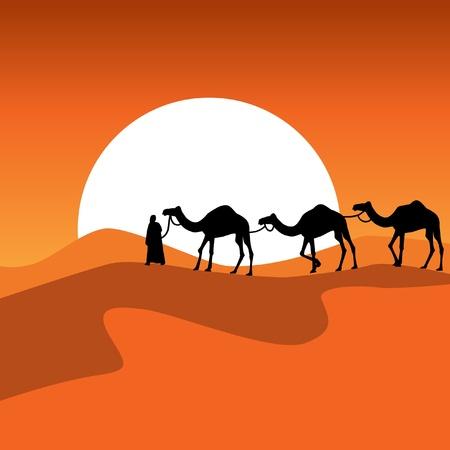 Caravan against a coming sun