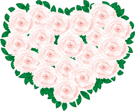 Pink art rose heart Illustration