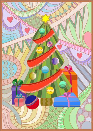 Stained-glass window Xmas tree Vector