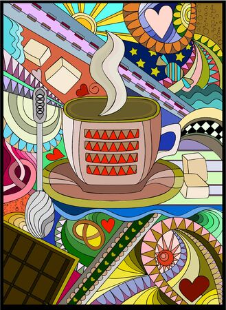 early in the evening: Stained-glass window Evening Tea Illustration