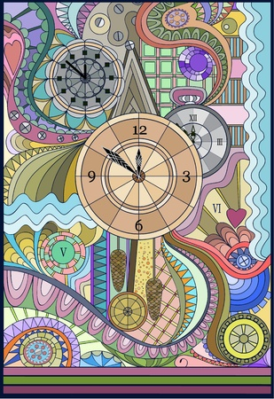 Stained-glass window The Clock Vector
