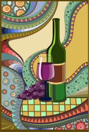 glass of red wine: Stained-glass window Wine Illustration