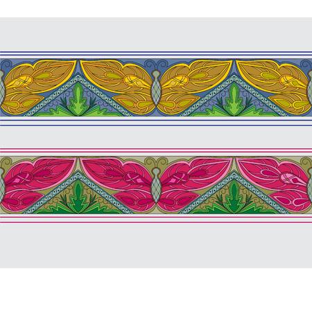 butterfly garden: Butterfly garden horizontal seamless pattern