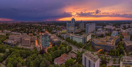 Munich from birds eye view, a droneshot in the powerful evening, Bavaria, Germany.