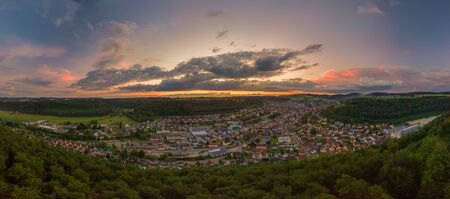The impressive sunset over the Schwaebische Alb captured by a drone.