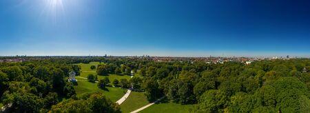 Munich Englischer Garten as a panorama from above.