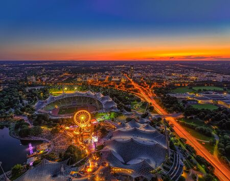 The view over Munich from the Olympic tower at the sunset. Reklamní fotografie