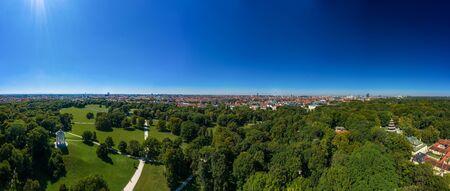 The wonderful overview from a drone at Munichs Englischer garten.