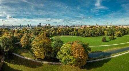 Autumn colors at the Englischer Garten of Munich, beautiful fall in a park.