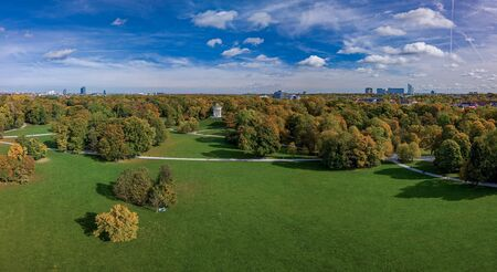 Autumn colors at the Englischer Garten of Munich, beautiful day in fall.