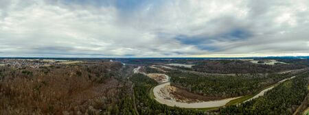 Aerial Panorama in southern bavaria, Isar Valley, Germany Bavaria. Sunset shot in Januar.