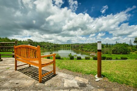 A bench at the tea plantation, Bois Cheri, in the foothills. Mauritius Stok Fotoğraf