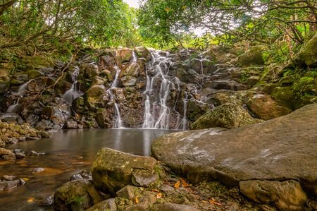 Cascade waterfalls in Vallee des Couleurs. Mauritius Island