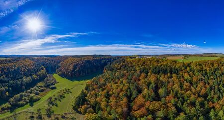 Inspirational aerial landscape, autumn forest and fields at the recreation area of the Schwaebische Alb in Baden Wuerttemberg. 写真素材