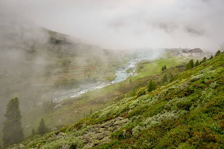 On the mountain, view downside over a misty meadow to a flowing river at the austrian Zillertal.