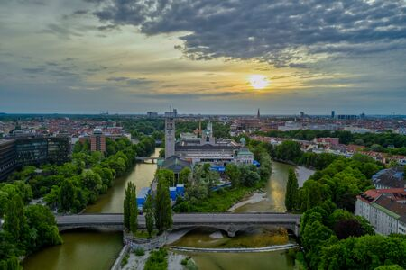View over Munich at the early morning from a high angle view at springtime, bavaria, germany,