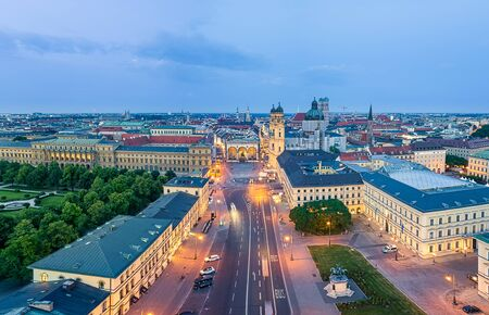 View over munich at the early morning, captured by a drone.