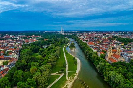 View over Munich with the Isar river, authentic from above, bavaria, Germany.