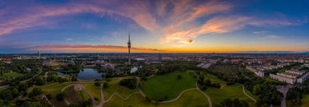 Powerful sunrise at the early summer morning in Munich, bavaria, germany.