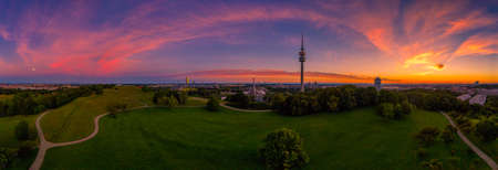 Fairytail colored sunrise view over the bavarian capital Munich.