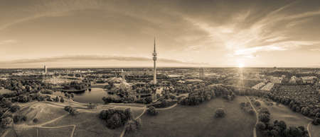 Munich in sepia look. The Park in total view at a beautiful sunrise. 写真素材 - 151209464