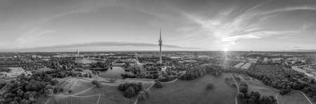 Munich in balck and white. The popular park with sightseeing elements as a monochrome wallpaper image.