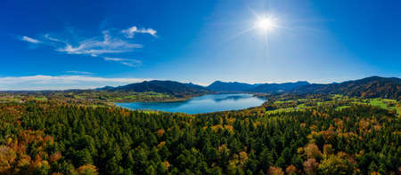 Tegernsee lake in the Bavarian Alps. Aerial Panorama. autumn. Germany