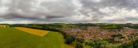 Rural panoramic view over the recreation area of Albstadt town at the swabian alb in baden wuerttemberg, germany.