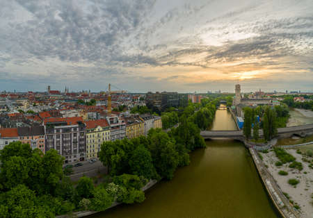Helicopter top view to Munich Center with Isar Spot 写真素材