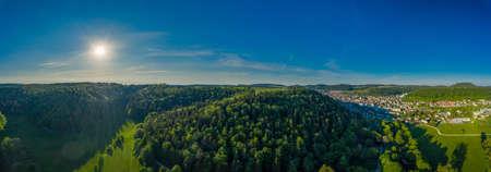 Germany, Green natural woodland landscape of swabian alb nature near Stuttgart 写真素材 - 155300764