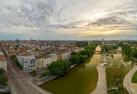 Munich view from a drone at the sunrise includes the Isar river and some popular landmarks