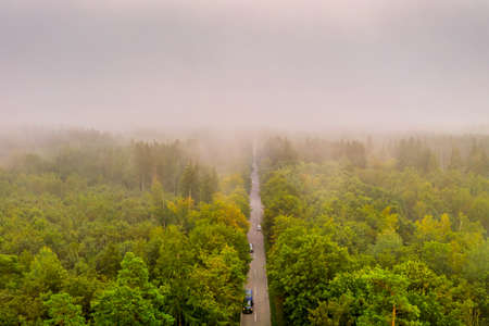 Aerial view at the car traffic on a road between a forest in foggy conditions, nice misty view from the birds eye.
