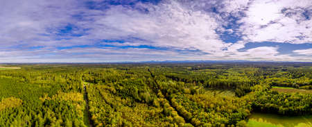 Wide angle aerial drone panorama of beautiful fall foliage in the forest in front of the bavarian alps under the blue sky.