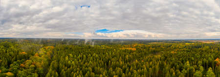 Fog after the rain over a autumn colored forest as a panoramic aerial, impressive nature. 写真素材