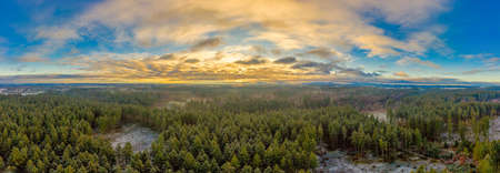 Panoramic aerial view over a wide forest with the undergoing sun, covered by enlightend clouds