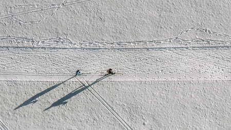 Skiing couple straight from above filmed by a drone at a winter track, white snowy sport photo from birds eyes perspective. 写真素材