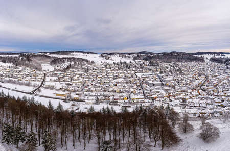 Snow in the winter city of Albstadt, a beautiful recreation urban area of the Swabian Alb, Germany.