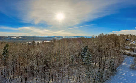 Sunny winter day in aerial view over the tree tops to the alp mountains in the winter background.