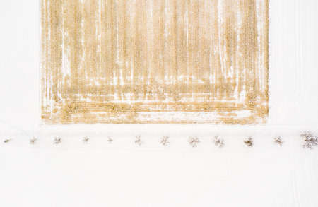 Aerial view of the trees along a snowy path from above at a high key Winter scenery next to a field. 写真素材