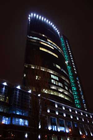illuminated modern building at the night in Kyiv