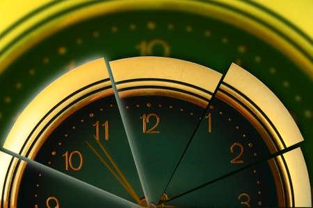 uninterrupted: segmented clock symbolise discrete and uninterrupted time