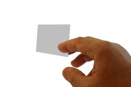 hand and blank visit card isolated on white Stock Photo - 2453772