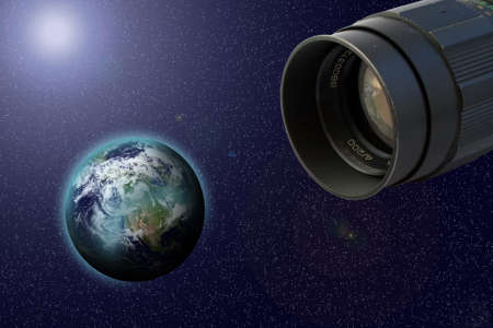 objective in cosmos make shot of earth Stock Photo