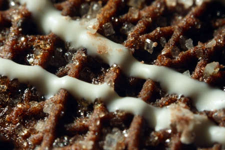 biscuit suface with creame chocolate and shugar macro shoot  photo