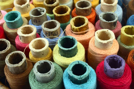 lot of coloured threads as abstract background