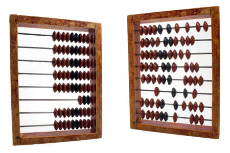 abaci: order and chaos demonstration on abacus isolated on white