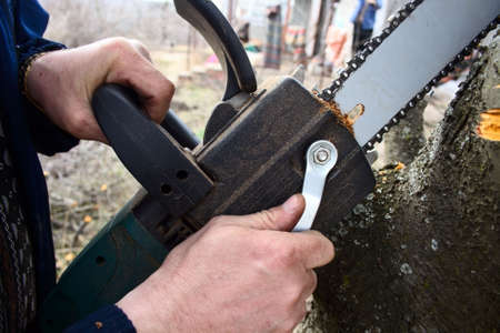 male hands adjusting electric saw during cutting work photo