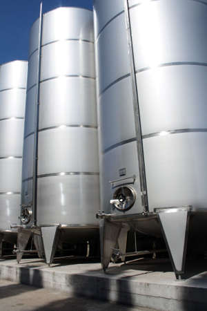 stainless tanks in wine factory
