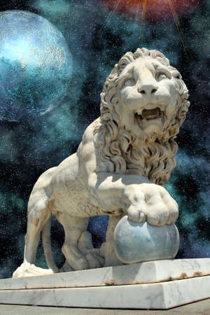 lion statue with blue planet in open cosmos space photo